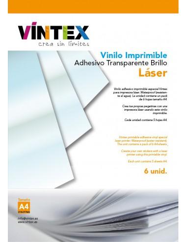 Vinilo Adhesivo Imprimible Transparente Brillo - Impresora Láser