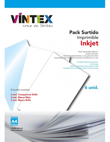Vinilo Adhesivo Imprimible Surtido - Impresora Tinta (PREMIUM)