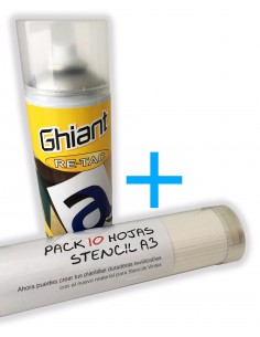 Pack Stencil material + Spray Adhesivo reposicionable Ghiant Re-Tac