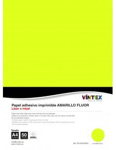 Papel Adhesivo Imprimible Amarillo Flúor VINTEX