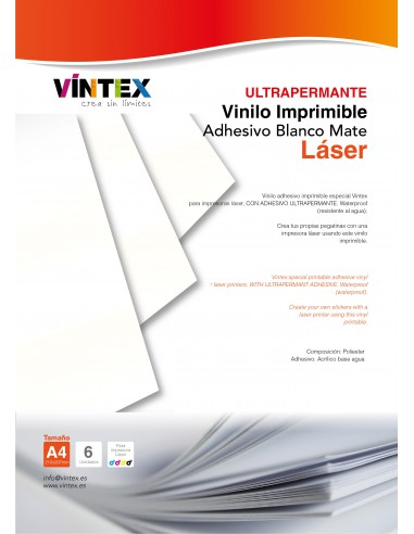 Vinilo Adhesivo Imprimible Blanco Mate Ultra-Permanente
