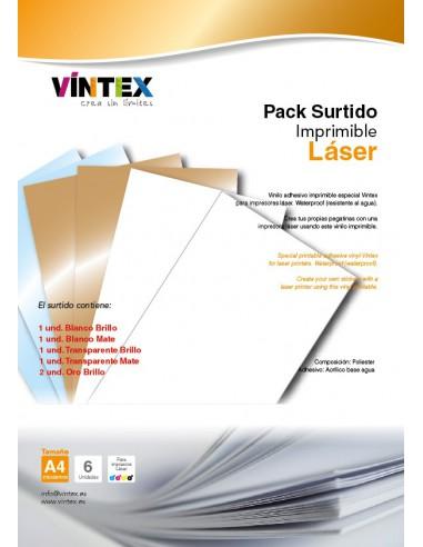 Vinilo Adhesivo Imprimible Surtido - Impresora Láser (PREMIUM)