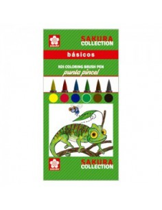Rotulador Sakura Koi de pincel flexible 6 colores básicos