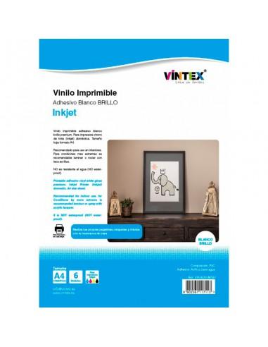 Vinilo Adhesivo Imprimible Blanco Brillo - Impresora Tinta (PREMIUM)
