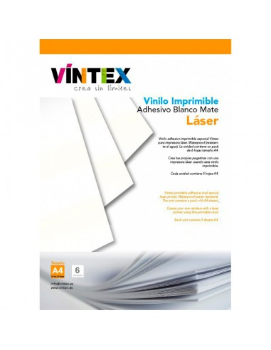 Vinilo Adhesivo Imprimible Blanco Mate - Impresora Láser
