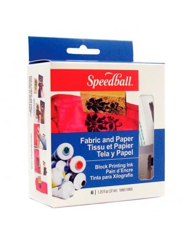 Pack 6 tintas para tejidos y papel Speedball