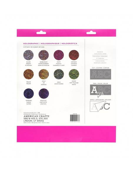 Pack vinilo adhesivo surtido Holographic Glitter American Crafts