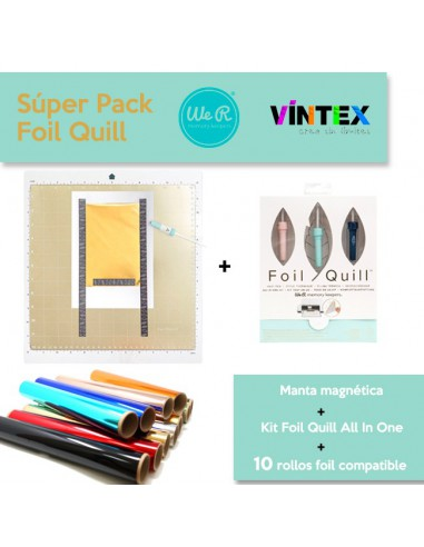 Súper Pack: Kit Foill Quill All In One + Manta magnética + 10 rollos de foil