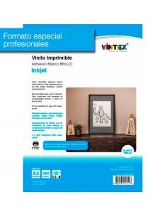 Pack 500 hojas Vinilo Adhesivo Imprimible Blanco Brillo Inkjet VINTEX (formato profesional)