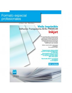 Pack 500 hojas Vinilo Adhesivo Imprimible Transparente Brillo Inkjet VINTEX (formato profesional)