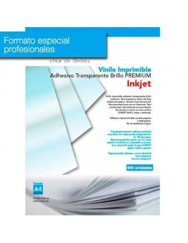 Vinilo Adhesivo Imprimible Transparente Brillo Inkjet VINTEX (formato profesional)