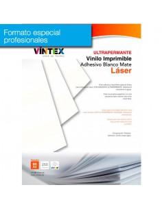 Pack 250 hojas Vinilo Adhesivo Imprimible Blanco Mate Ultra-Permanente (formato profesional)