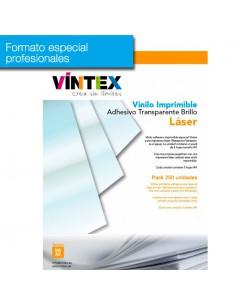 Pack 250 hojas Vinilo Adhesivo Imprimible Transparente Brillo láser (formato profesional)