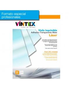 Pack 250 hojas Vinilo Adhesivo Imprimible Transparente Mate Láser (formato profesional)