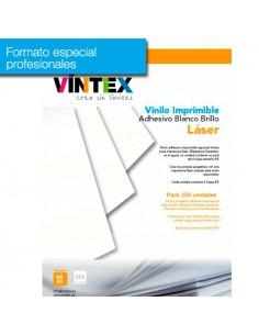 Pack 250 hojas Vinilo Adhesivo Imprimible Blanco Brillo láser (formato profesional)
