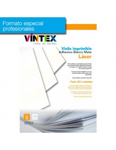Pack 250 hojas Vinilo Adhesivo Imprimible Blanco Mate láser (formato profesional)