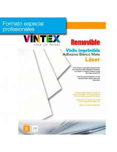 Pack 250 hojas Vinilo Adhesivo Imprimible Blanco Mate removible Láser (formato profesional)