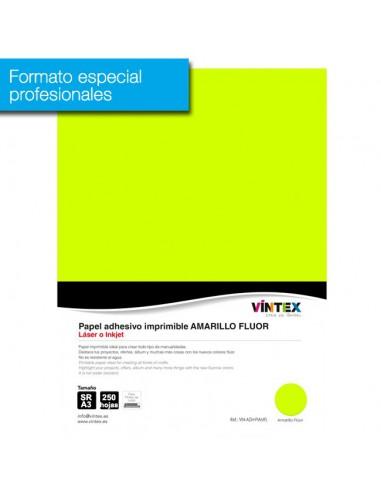 Pack 250 hojas  Papel Adhesivo Imprimible Amarillo Flúor (formato profesional)