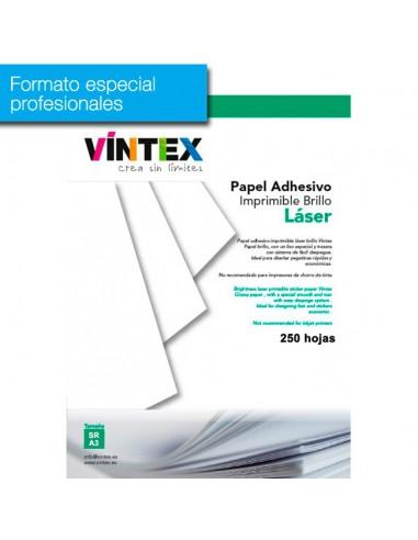 Pack 250 hojas Papel Adhesivo Imprimible Blanco Alto Brillo láser (formato profesional)