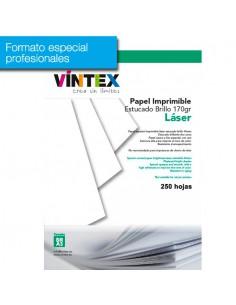 Pack 250 hojas Papel estucado imprimible blanco brillo láser (formato profesional)