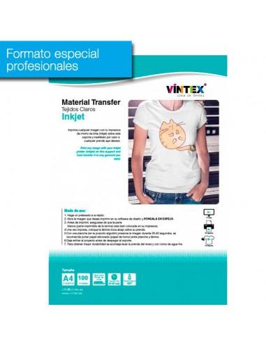 Pack 100 hojas transfer textil inkjet para tejidos claros VINTEX