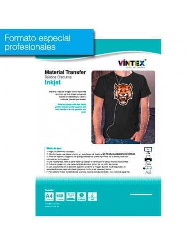 Pack 100 hojas transfer textil inkjet para tejidos oscuros VINTEX