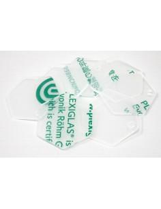 Pack 8 piezas metacrilato transparente forma hexagonal