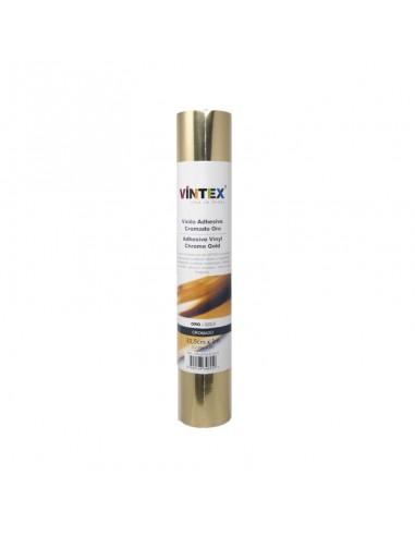 Bobina vinilo adhesivo metalizado oro 25x25 cm