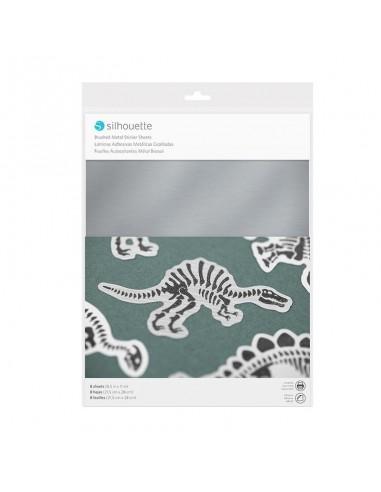 Sticker Paper efecto cepillado plata metalizado Silhouette (PRÓXIMAMENTE A LA VENTA)