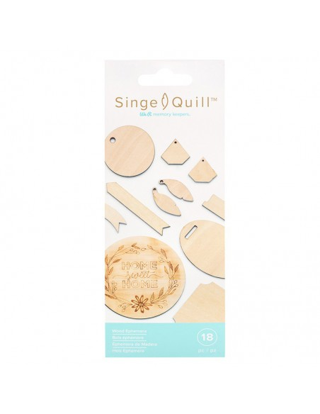 Pack 18 láminas de madera formas variadas Singe Quill ephemera We R Memory Keepers