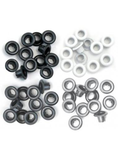 Pack 60 ojales estándar metálicos tonos grises We R Memory Keepers
