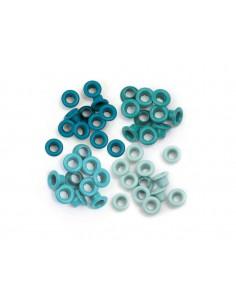 Pack 60 ojales estándar metálicos tonos verde agua We R Memory Keepers