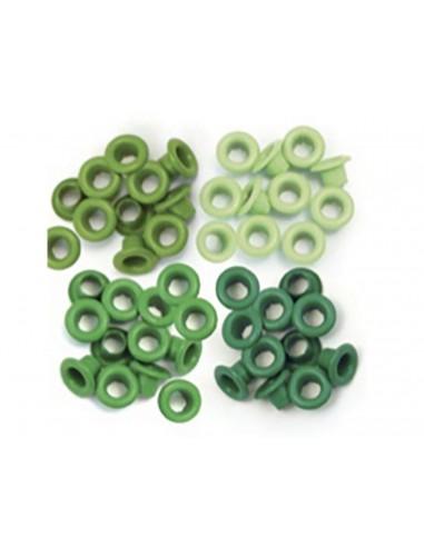 Pack 60 ojales estándar metálicos verde  We R Memory Keepers