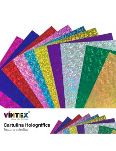 Cartulina Holográfica estrellas VINTEX