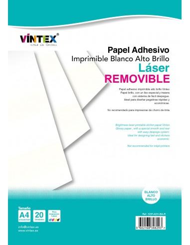 Papel Adhesivo Imprimible Blanco Alto Brillo láser REMOVIBLE