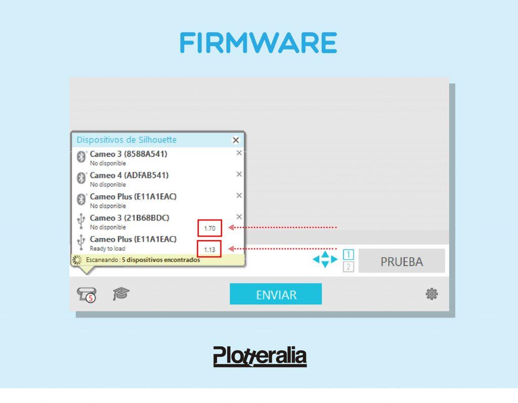Donde encontrar la versión firmware de cualquier máquina Silhouette.