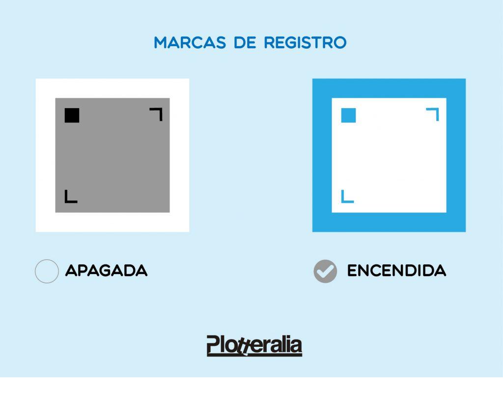 Iconografía de las marcas de registro para hacer Print and Cut.