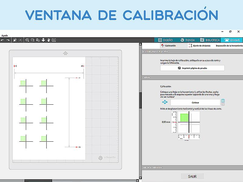Ventana de calibración de la interfaz de Silhouette Studio.